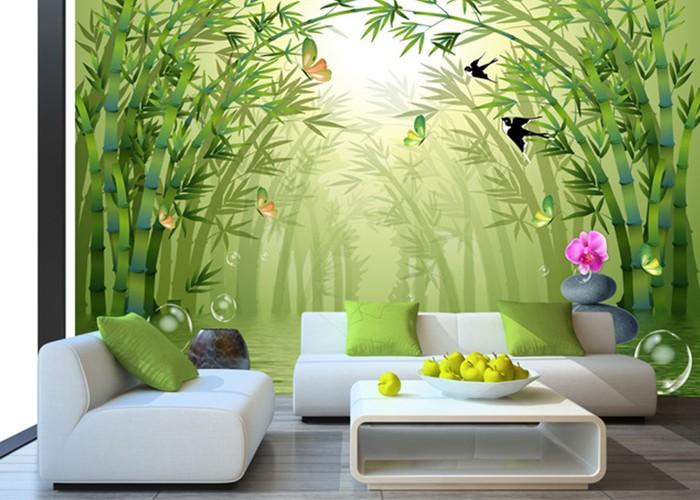 Bamboo and birds custom photomural wallpaper