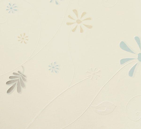 751109X Light Blue Floral Wallpaper