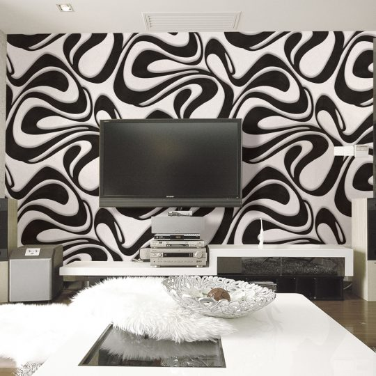 99022r Geometric black and white wallpaper