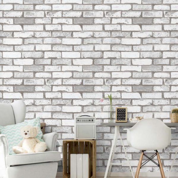 A22-20P37 Grey and white brick wallpaper