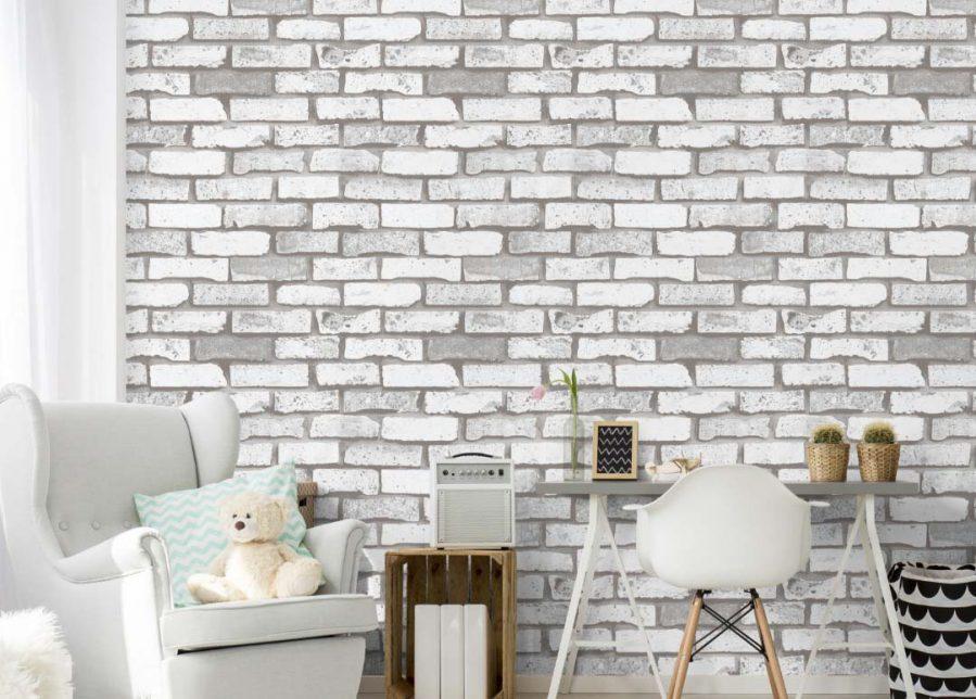A22-20P37 Grey and white brick wallpaper