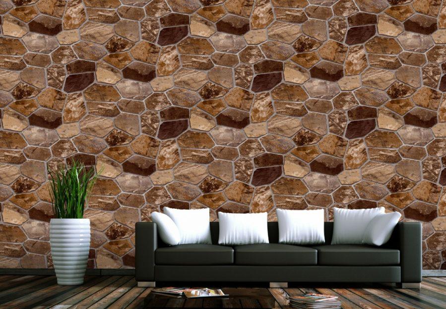 Chocolate brown brick wallpaper design