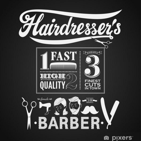 Barber shop custom made commercial wallpaper