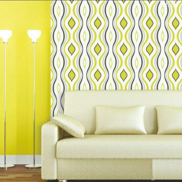 Blue & Yellow Striped Wallpaper