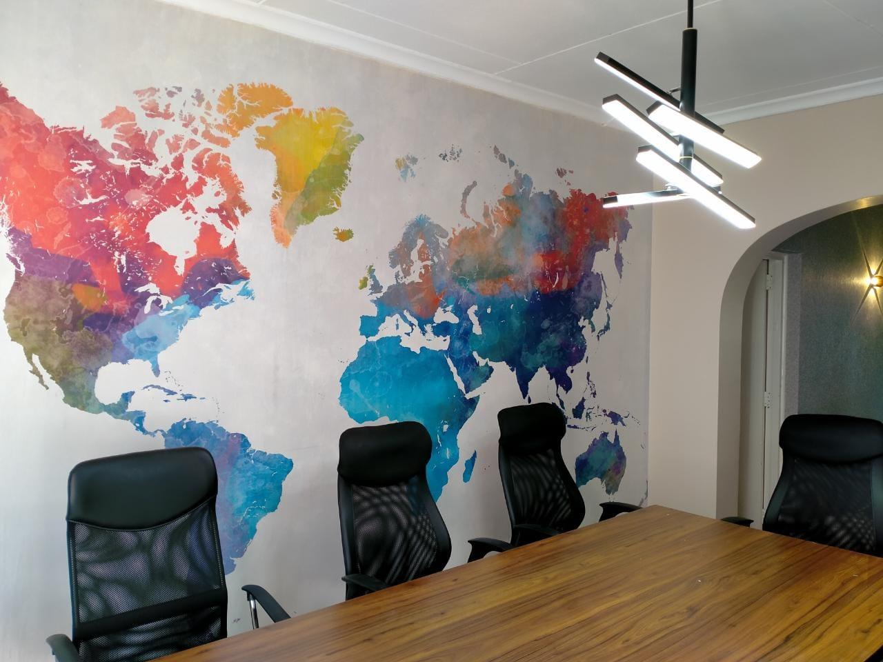 Board room world map full wall wallpaper mural