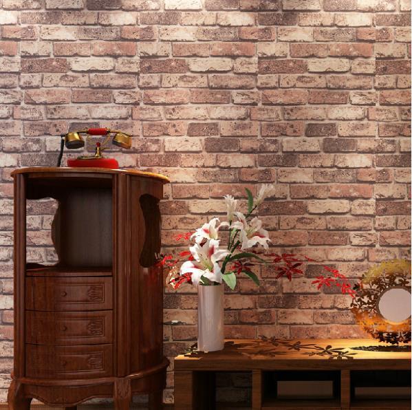 Exposed Brown Brick effect wallpaper