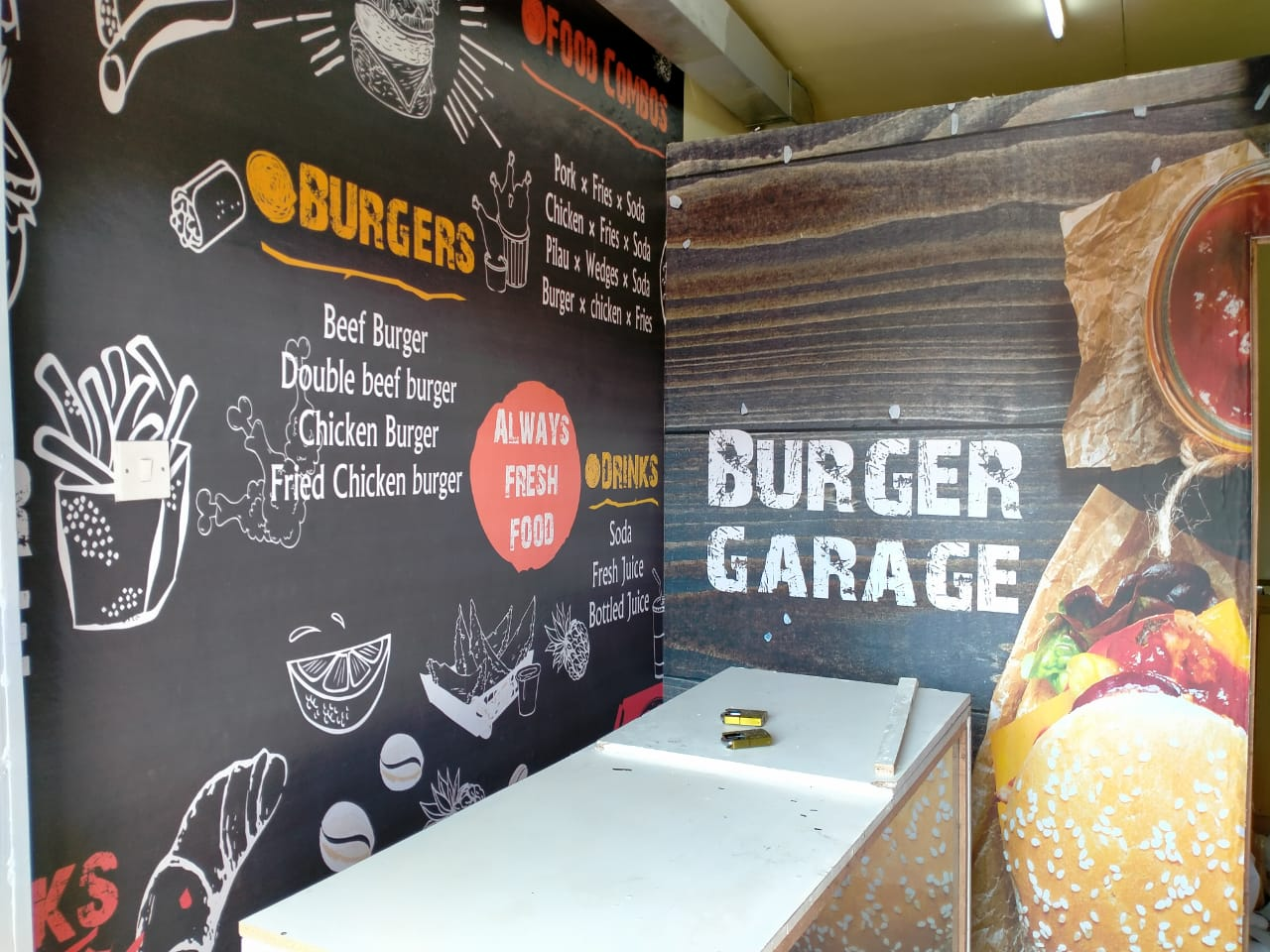 Informational custom fast foods printed wallpaper