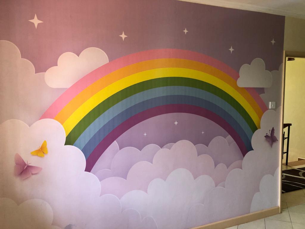 Popular children's rainbow wall murals