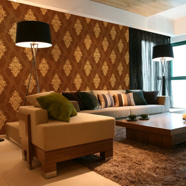 D 20506 brown damask wallpaper