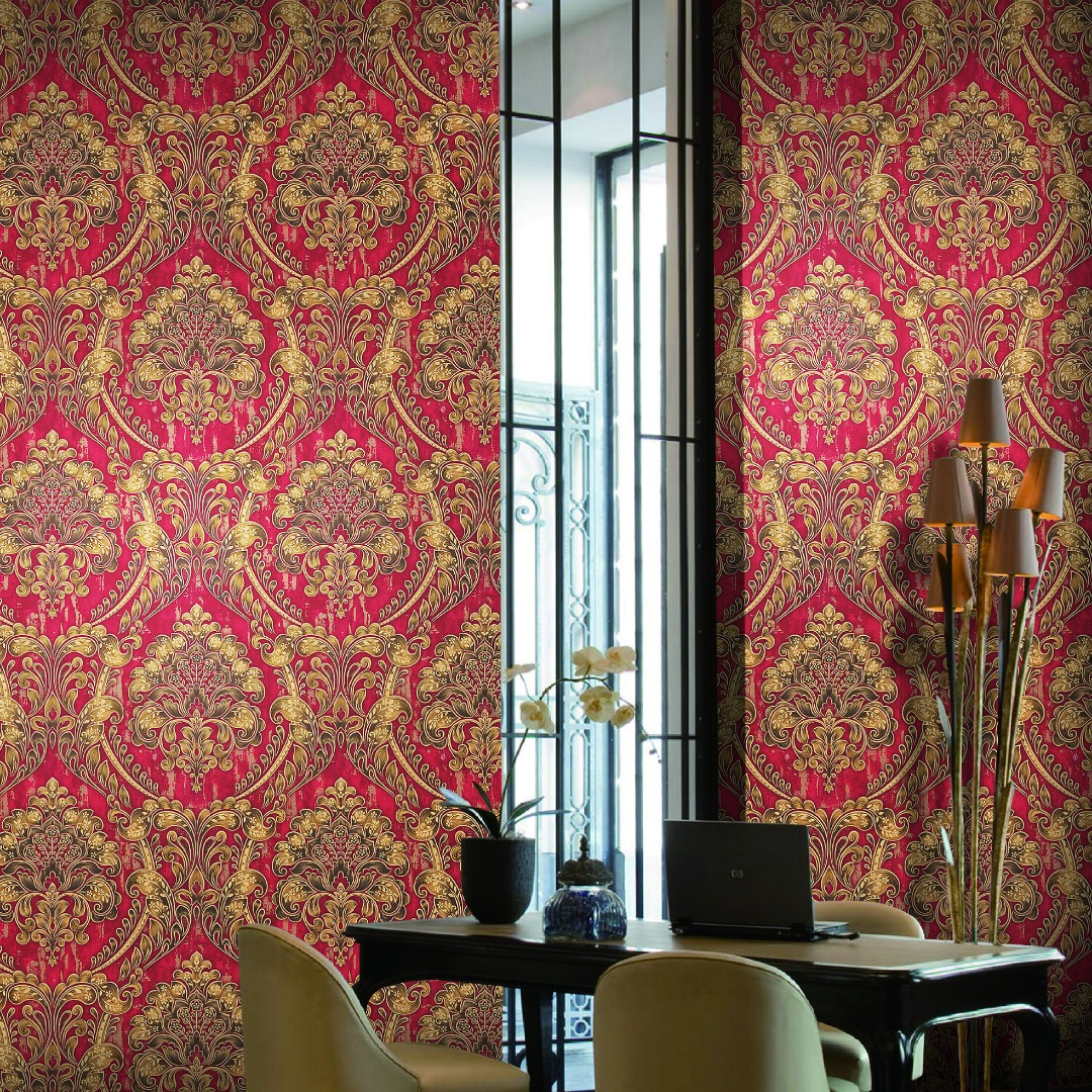 Red and gold damask wallpaper
