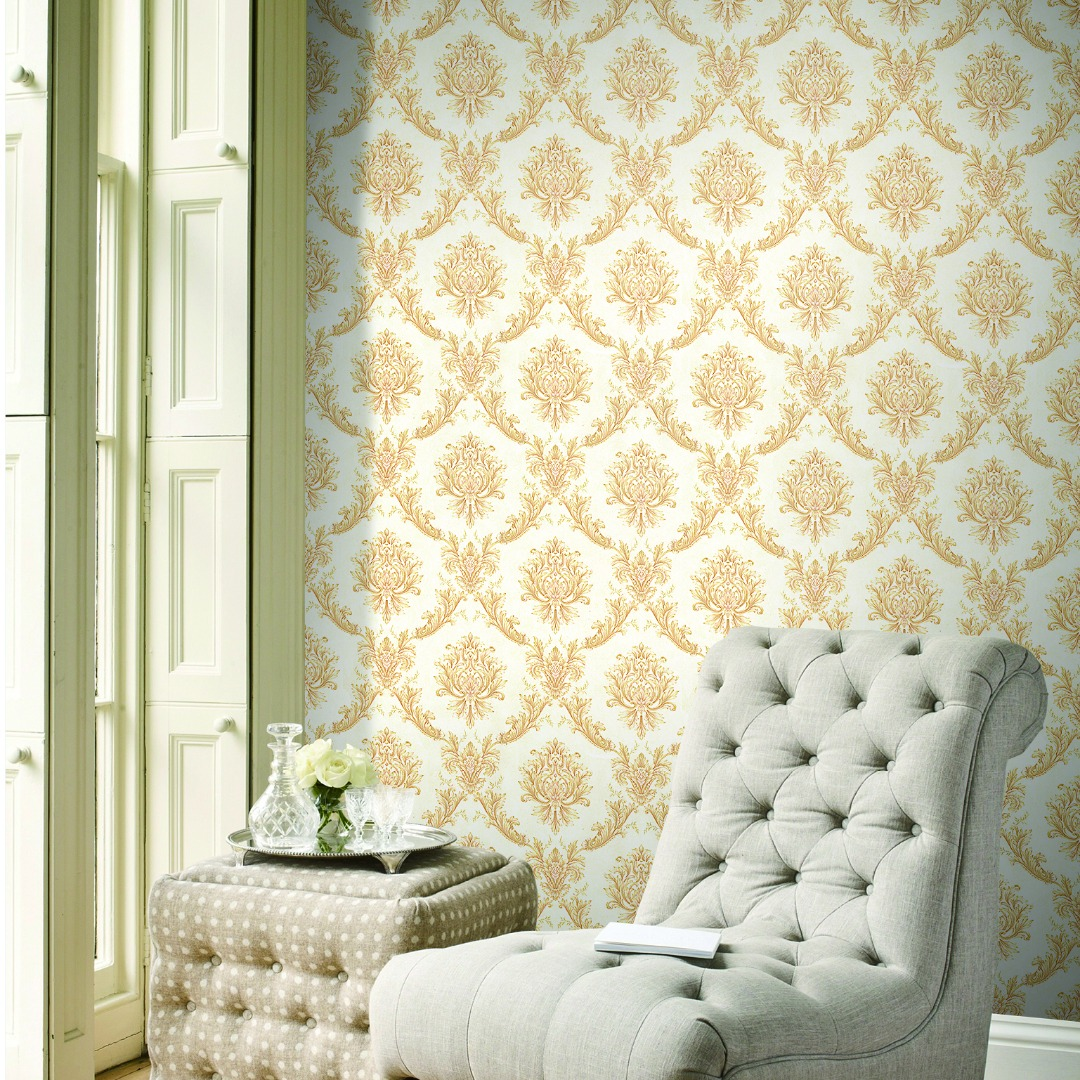 AY-30074 Gold damask wallpaper - Call: +254741889754 Wallpaper Kenya.