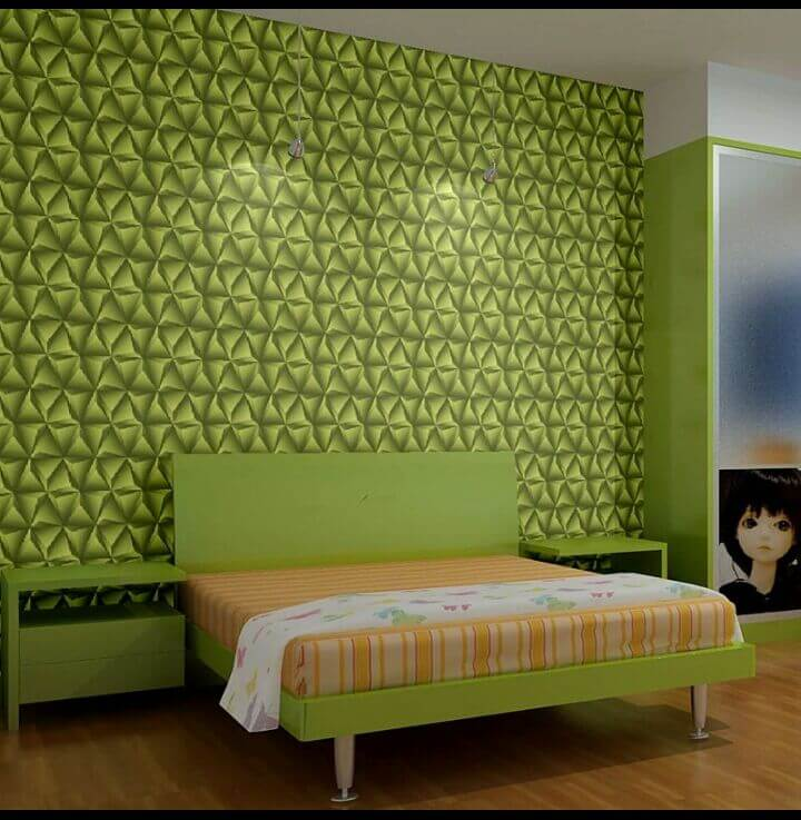Green 3d bed room wall