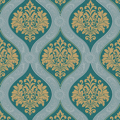 Green damask wallpaper HN5577
