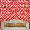 Maroon & gold damask wallpaper