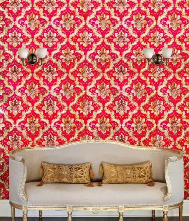 Maroon & gold damask wallpaper