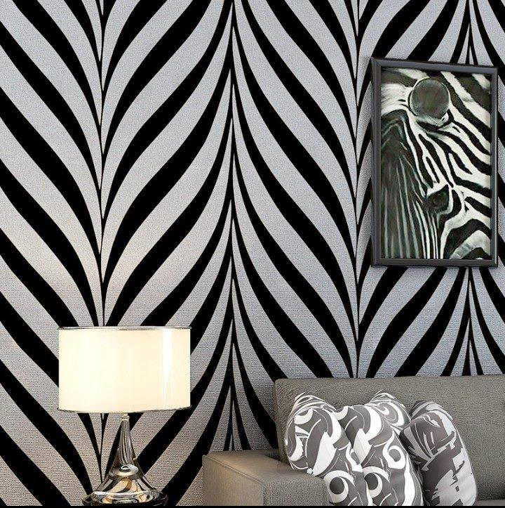 Zebra stripes black and white wallpaper