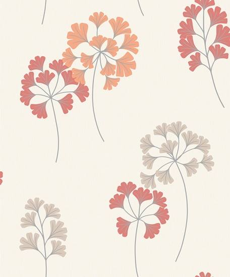Red & Orange Floral Wallpaper