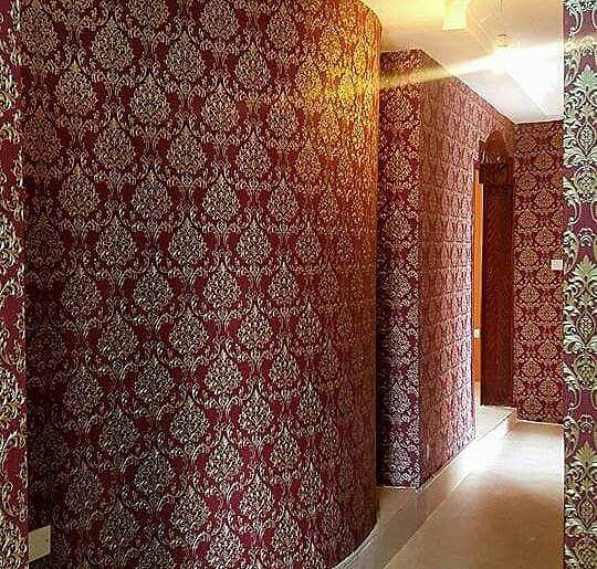 Silver & Maroon damask wallpaper