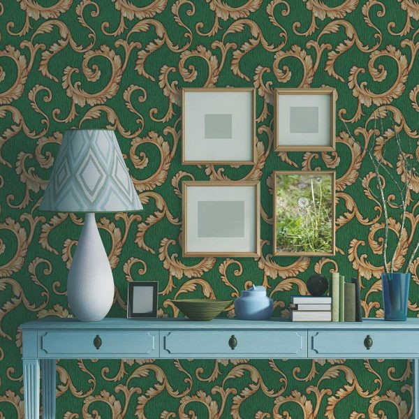 green-damask-wallpaper