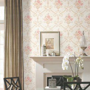 Pink flower wallpaper living room