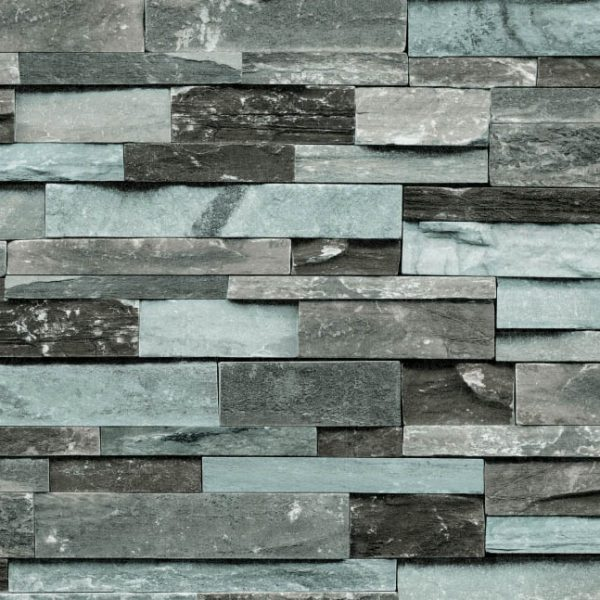 Black and blue brick wallpaper