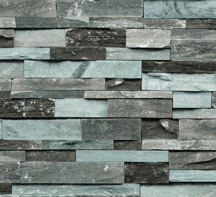 Black and blue brick wallpaper