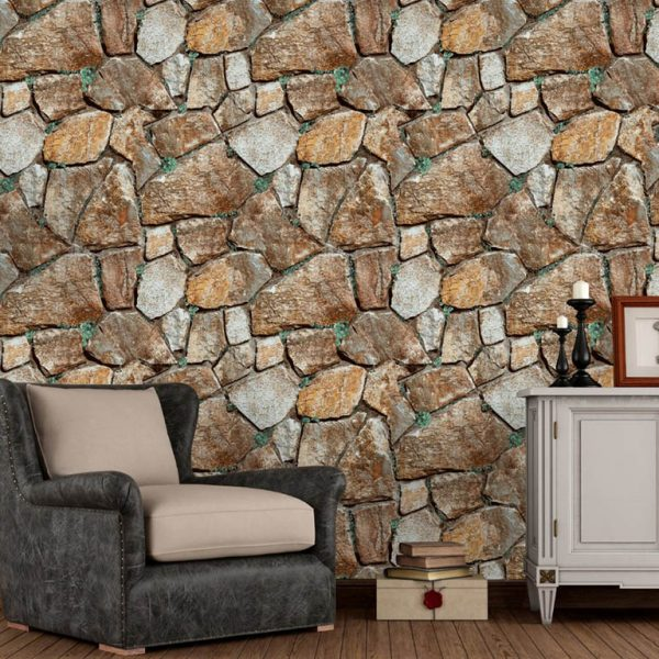 Brown and white stone wallpaper