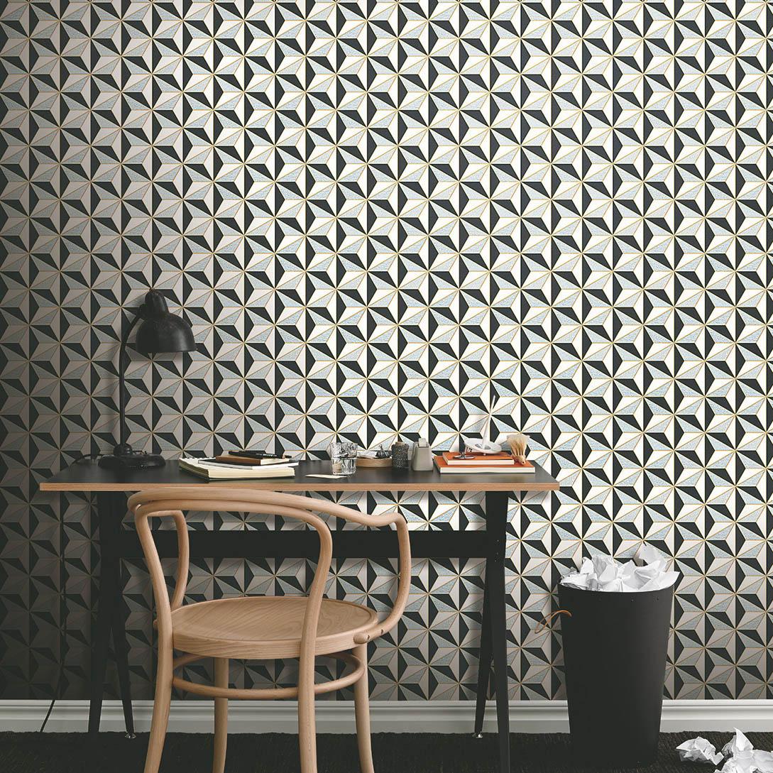 Classic black and white 3D geometric wall mural