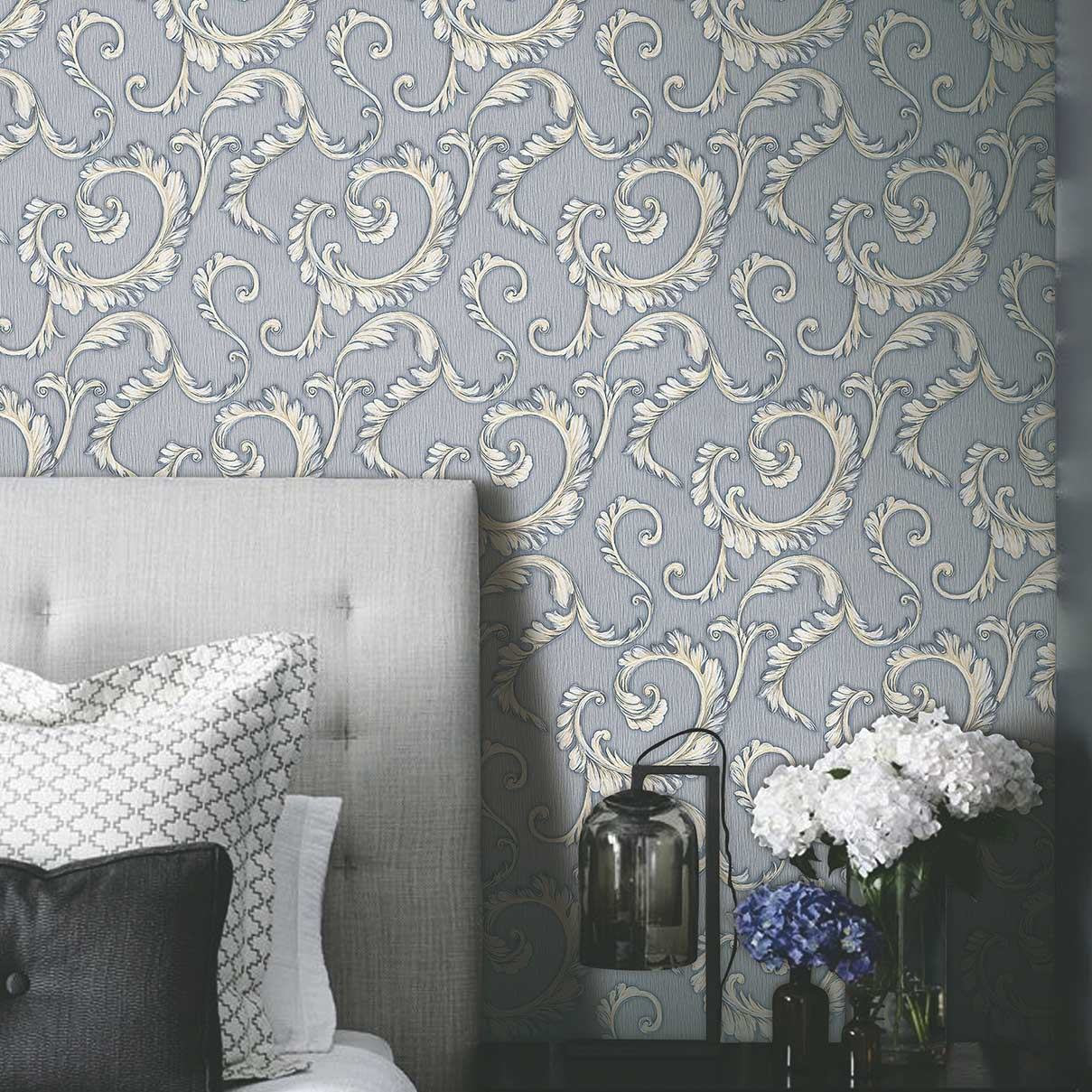 luxurious grey and white bedroom wallpaper