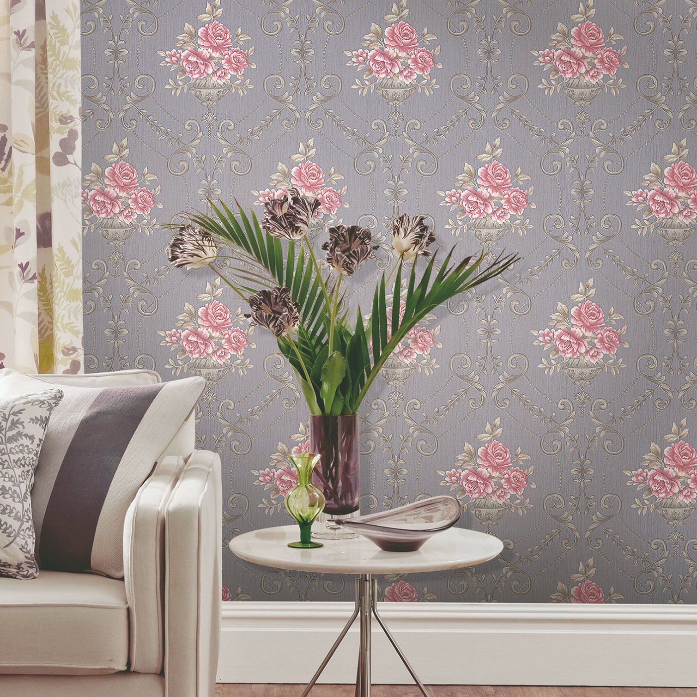 Pink flower on Lavender Wallpaper - Call: 0720271544 Wallpaper Kenya.