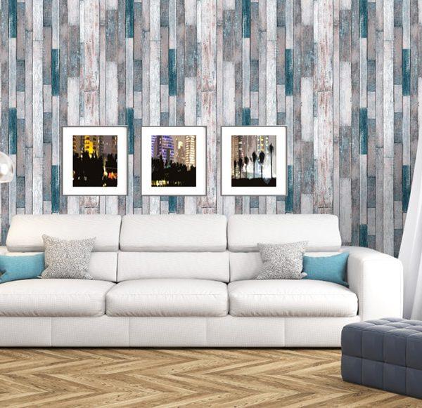 Blue wood effect wallpaper
