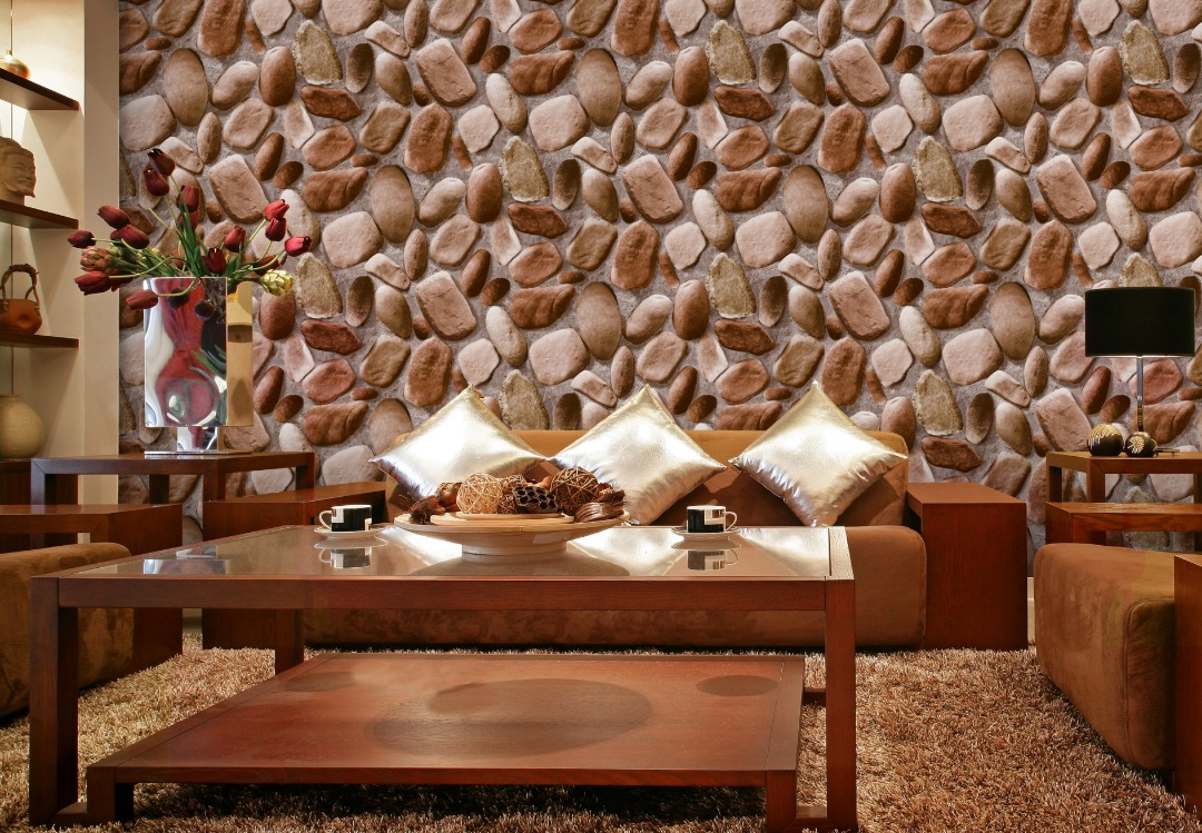 Natural brick wallpaper for living room or office