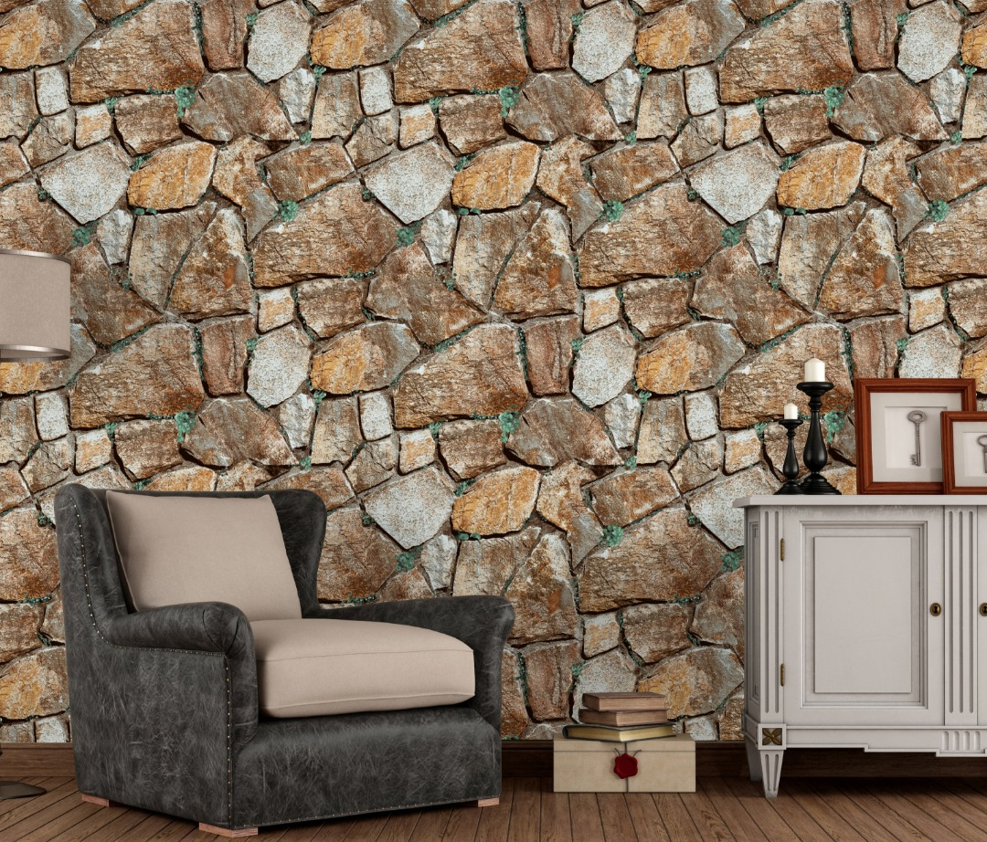 Faux embossed brick house interior walls wallpaper