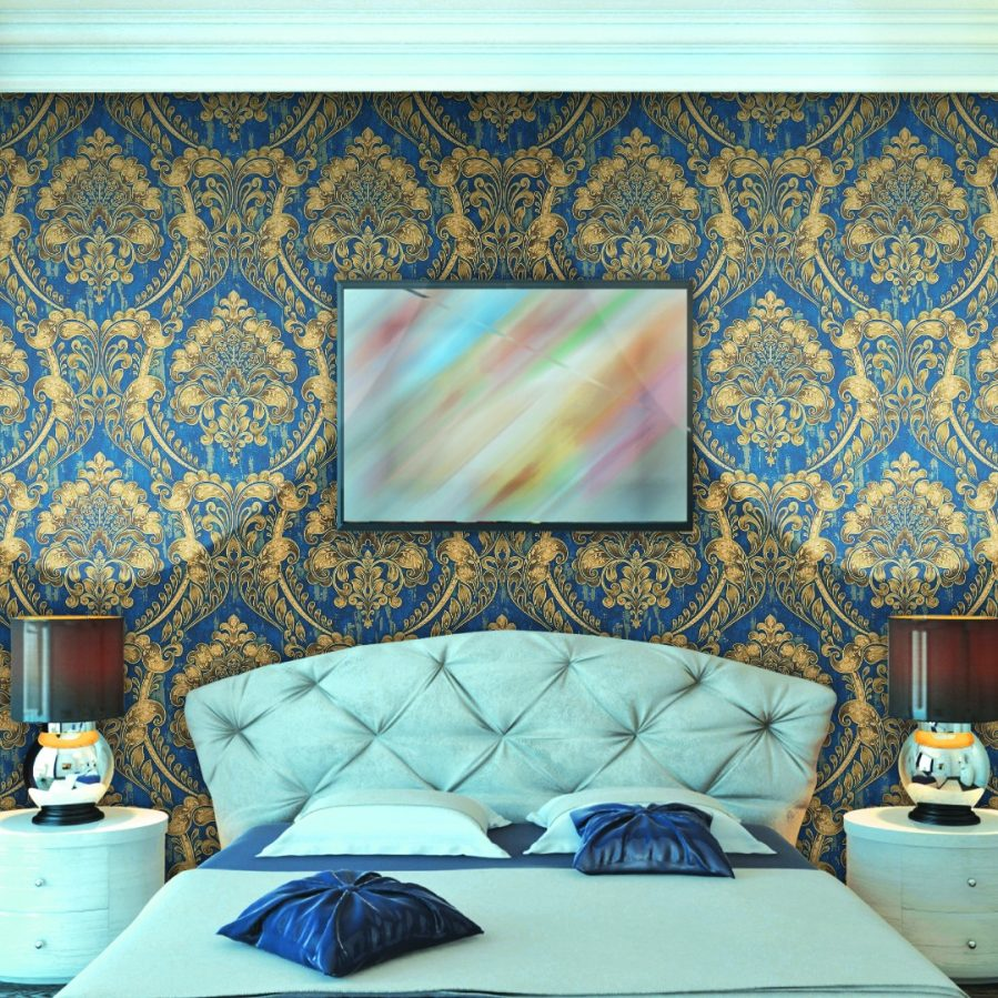 FA881505 Blue & Gold Wallpaper