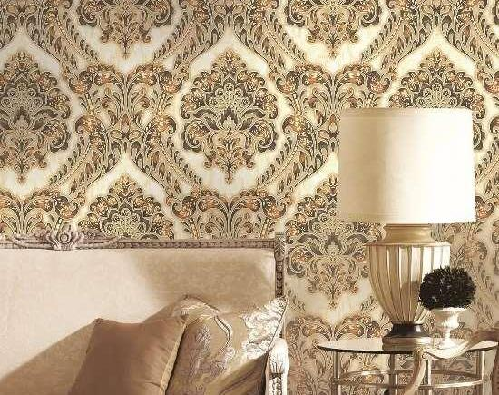 Gold and Cream Damask Wallpaper