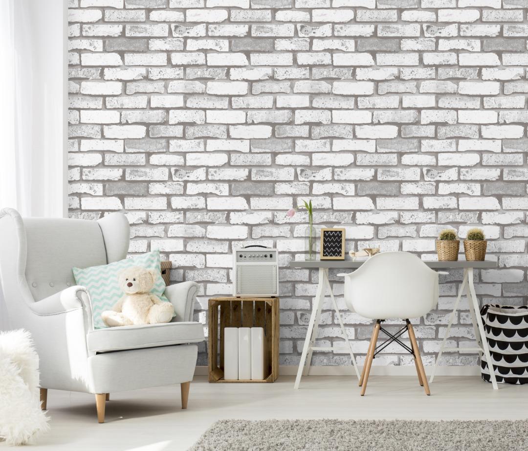 A22 20p02 Brick Wallpaper Living Room