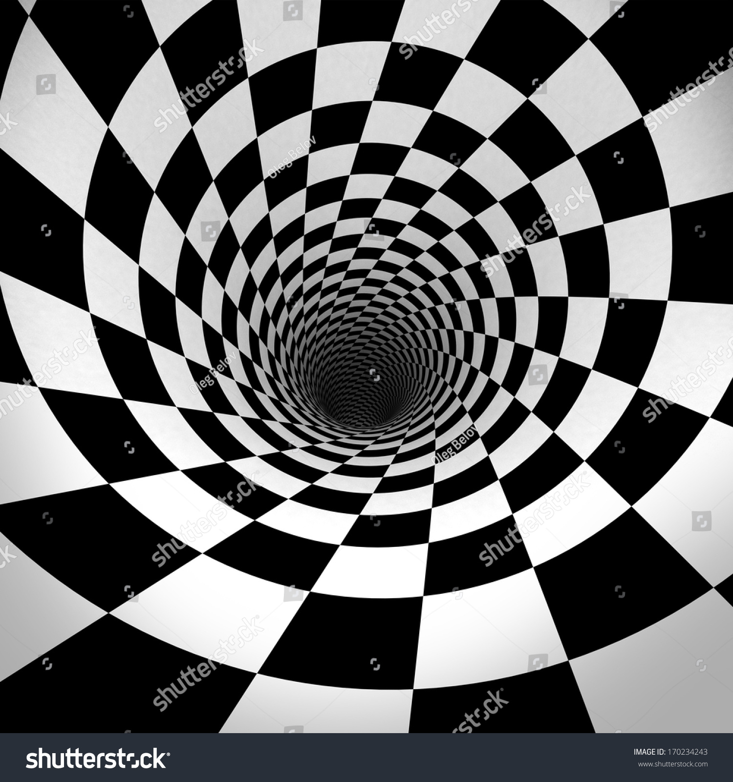 3D Realistic black and white optical illusion tunnel wallpaper