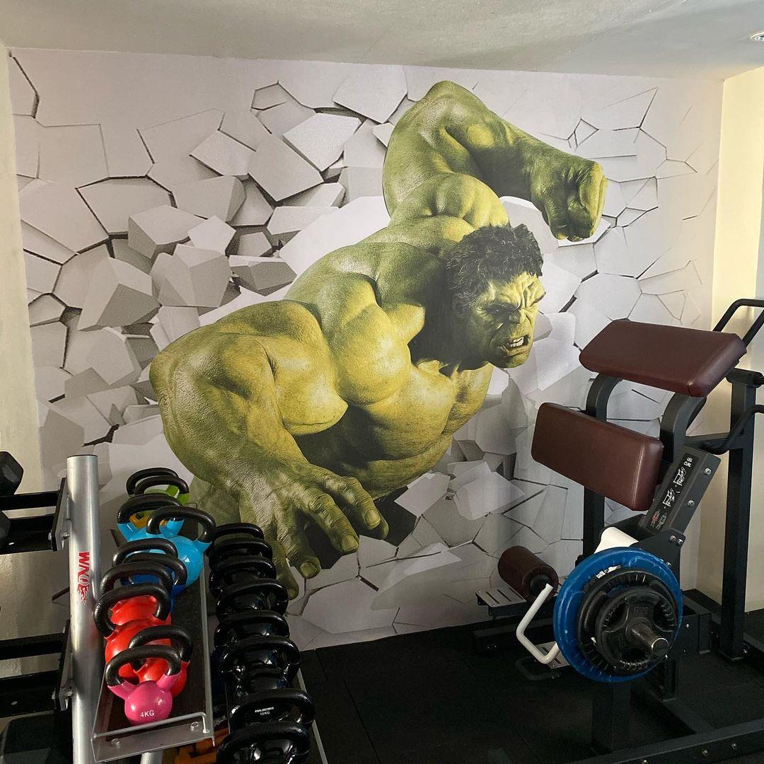 Incredible Hulk Gym Custom Wallpaper at Golden Tulip Hotel, Wetlands, Nairobi.