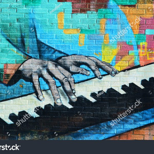 Graffiti jazz music mural wallpaper