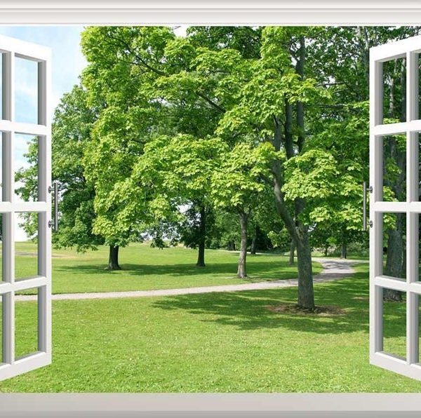 Window forest mural wallpaper