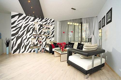 Custom made zebra stipes wallpaper mural