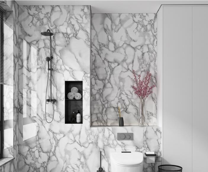 Home shower 3d marble design self-adhesive contact wallpaper