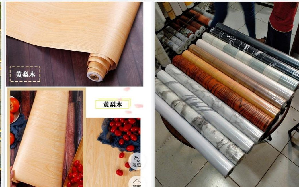 Wood, granite, and marble self adhesive contact papers