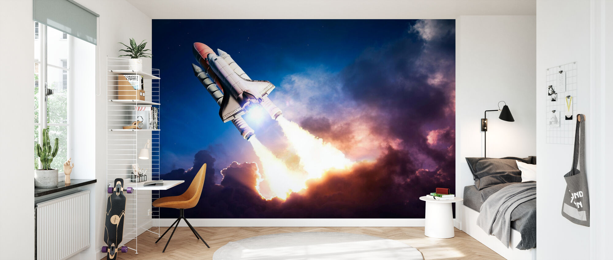 Supersonic rocket in the outer space wall mural