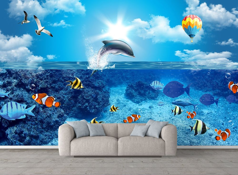 3d Wallpaper under the seal flora and fauna wallpaper for children