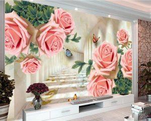 3d living room large flower wallpaper mural