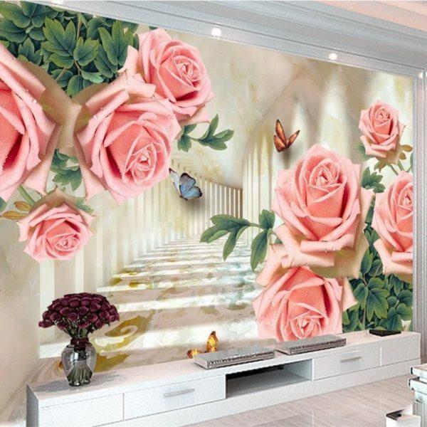 Livingroom large flower wallpaper